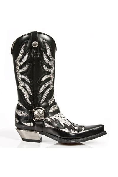 BLACK LEATHER AND WHITE SNAKESKIN COWBOY BOOTS Authentic