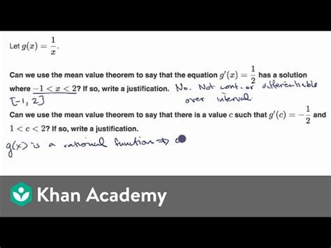 Justification with the mean value theorem: equation (video
