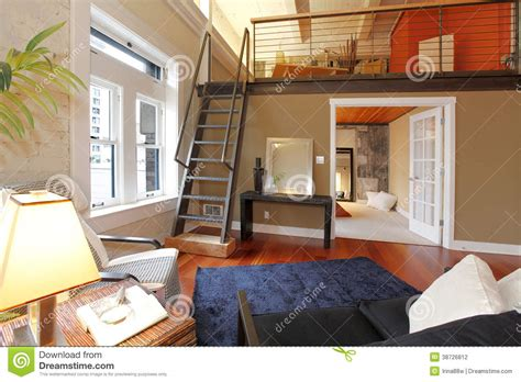 Reconstructed Modern Living Room With Mezzanine Stock