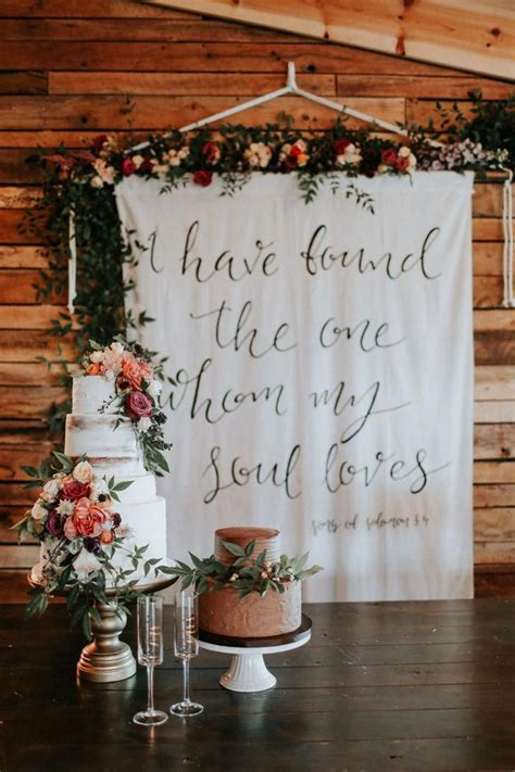 Bible verse enscripted wedding reception tapestry| Image