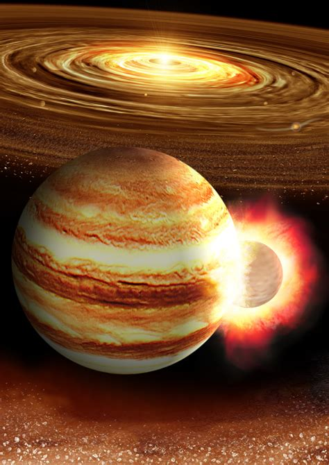 Jupiter may have had a head-on collision with a massive