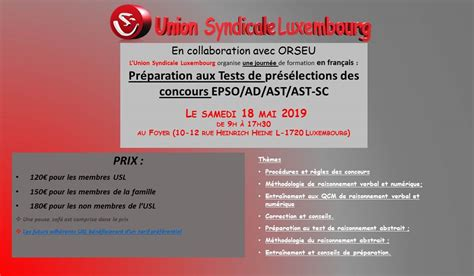 Formation – Union Syndicale Luxembourg