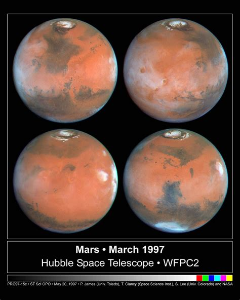 Four Views of Mars In Northern Summer   ESA/Hubble