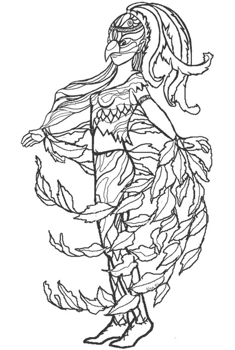 Bird Woman To color www